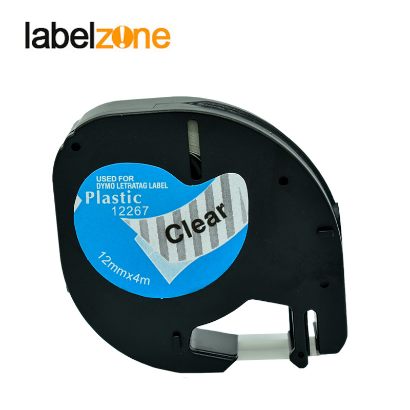 12mm 12267 Compatible Dymo Letratag Plastic Tapes LT12267 Label Ribbon 12mm*4m Balck On Clear For DYMO Letratag Label Printers