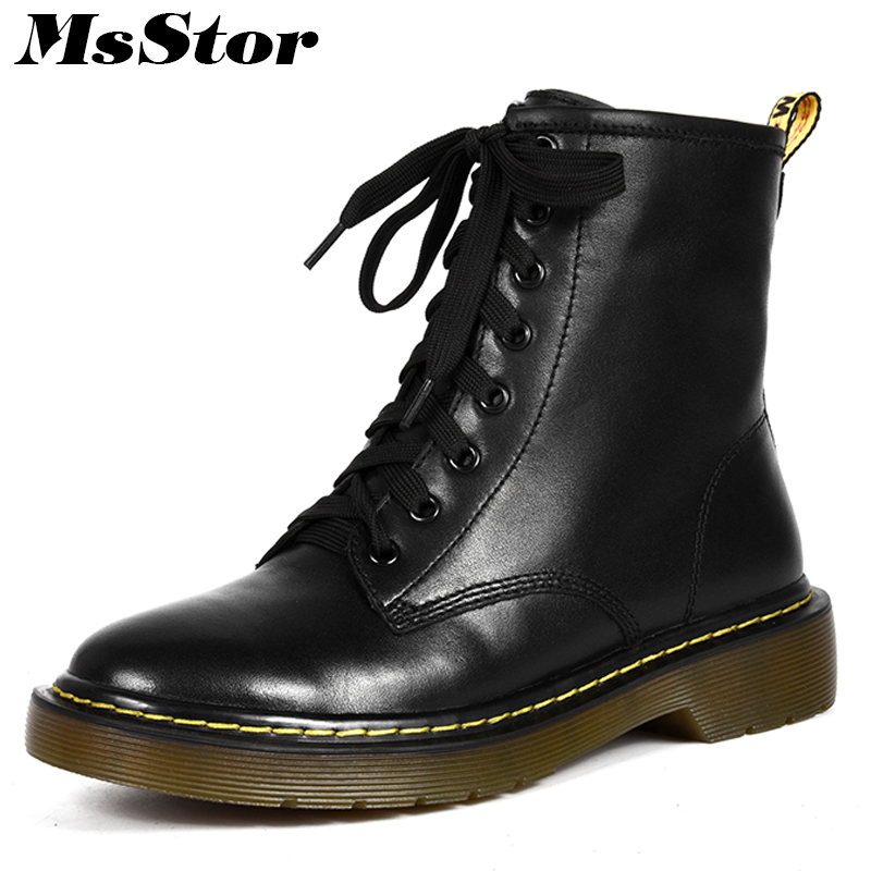 MsStor Women Boots Round Toe Square heel Lace Up Ankle Boots Women Shoes Genuine Leather Med Heel Black Boot Shoes For Woman cicime summer fashion solid rivets lace up knee high boot high heel women boots black casual woman boot high heel women boots