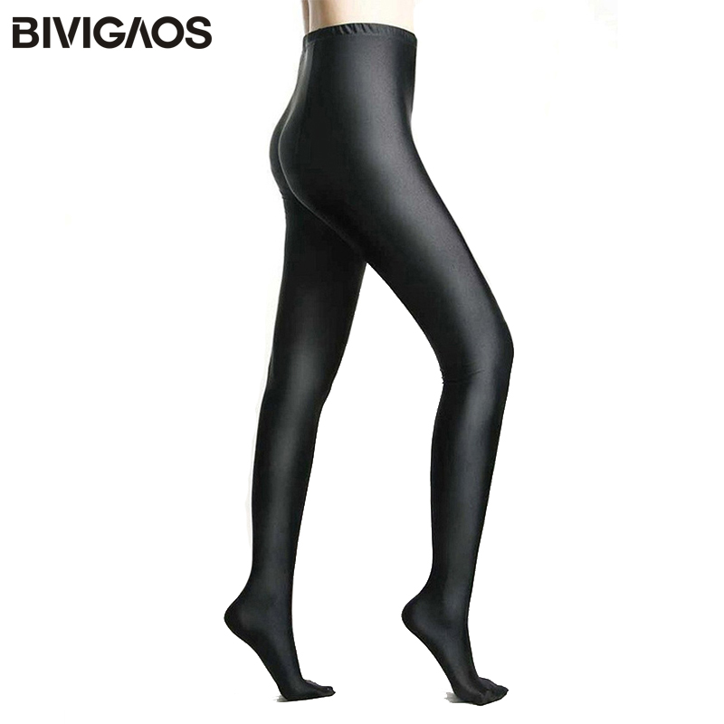 BIVIGAOS Womens Shiny Lustrous Black Leggings Pants Shaping Pants Leggings Chinlon High Elastic Sexy Leggings Women