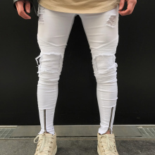Men Ripped holes jeans Zip skinny 2018 New biker jeans white jeans with Pleated patchwork slim fit hip hop jeans men pants