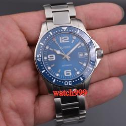 Nowy Fashional 40mm BLIGER automatyczny męski zegarek data szafirowa kryształowa ceramiczna ramka deployant klamrami męski zegarek mechaniczny