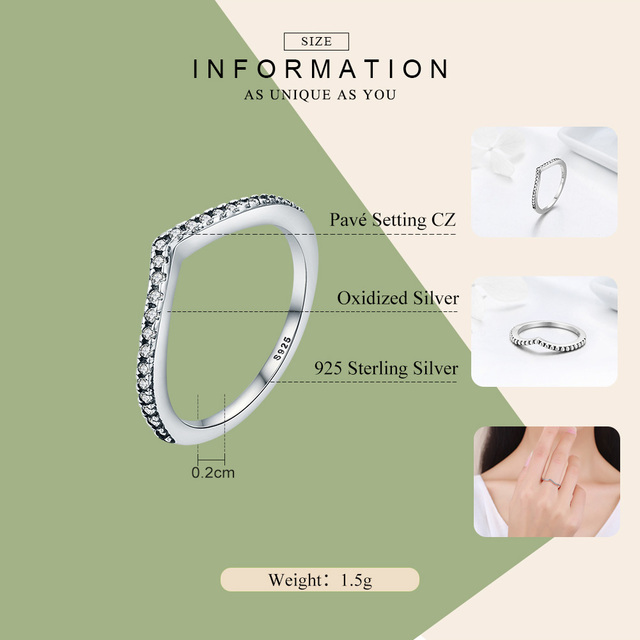 BAMOER 100% 925 Sterling Silver Water Droplet Clear CZ Finger Rings for Women Wedding Engagement Jewelry Girlfriend Gift PA7649 3