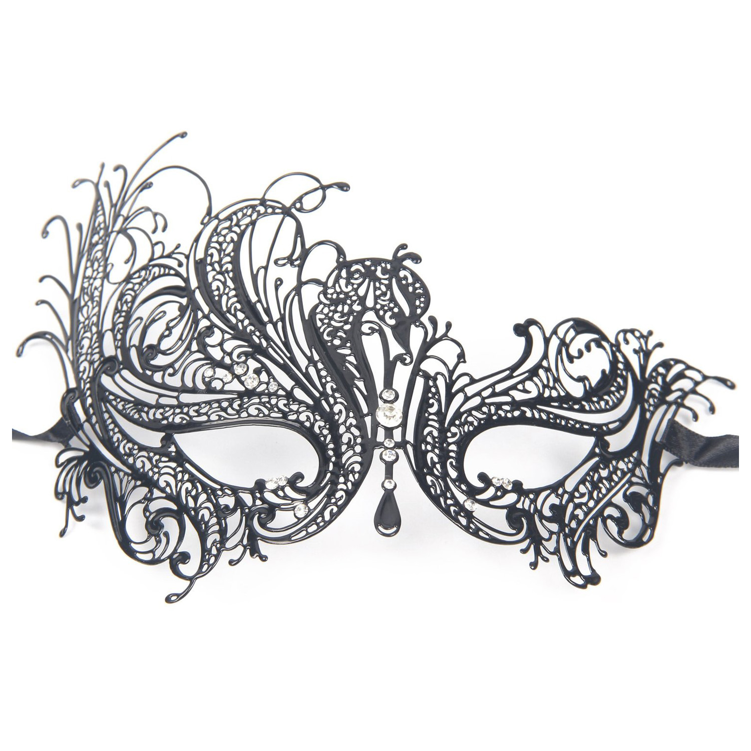Metal Laser Cut Filigree Masquerade Venetian Party Mask Black