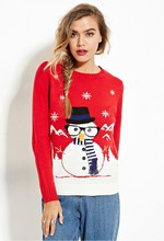 2016 Autumn and Winter Clothing Casual Wear Scarves Snowman Christmas Theme Red Sweater Hedging Long-sleeved Round Neck Es1050