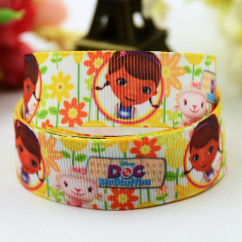 7/8 (22mm) Doc McStuffins Cartoon Character printed Grosgrain Ribbon satin ribbons Party decoration OEM X-00386 10 Yards