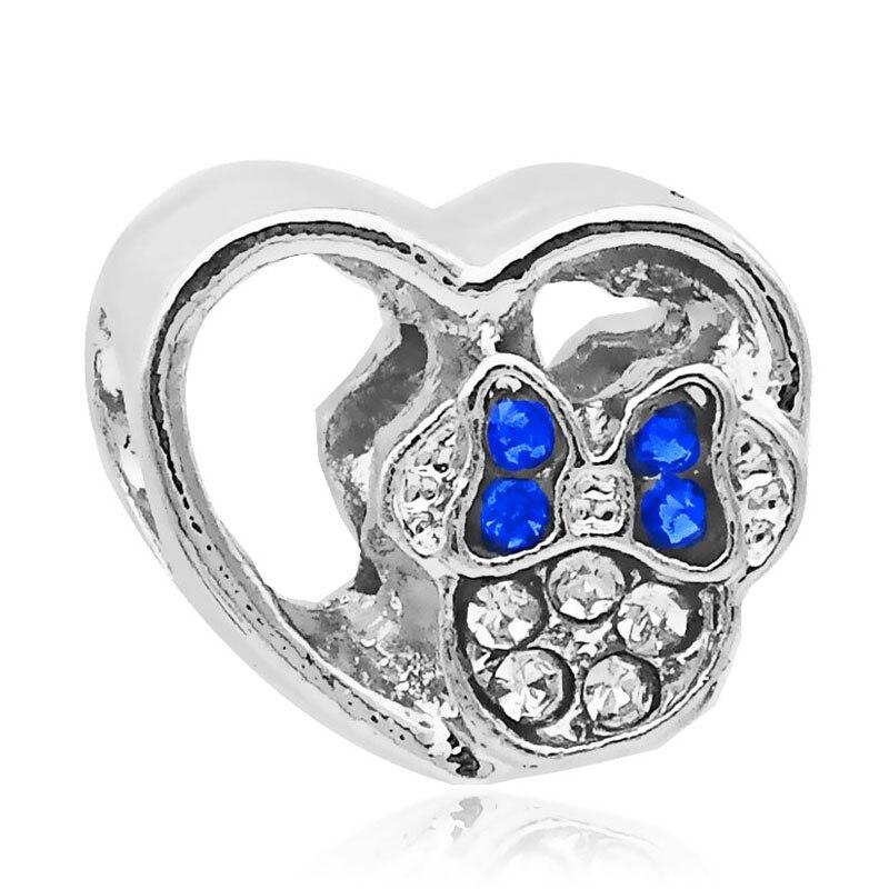Vogue Exquisite DIY Alloy Beads Cartoon Silver Blue Crystal Minnie Heart Bead Charms Fit Original Pandora Bracelets & Bangles