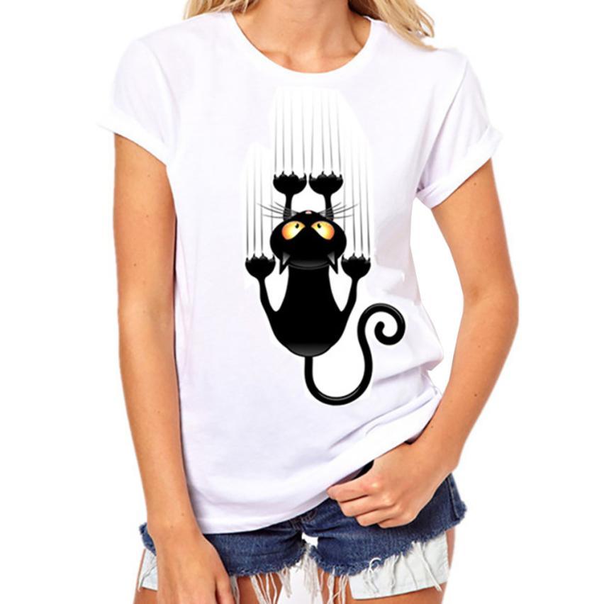 Women Girls Plus Size Print Tees Shirt Short Sleeve Cotton T-Shirt femme Tops T-Shirt Mar 19