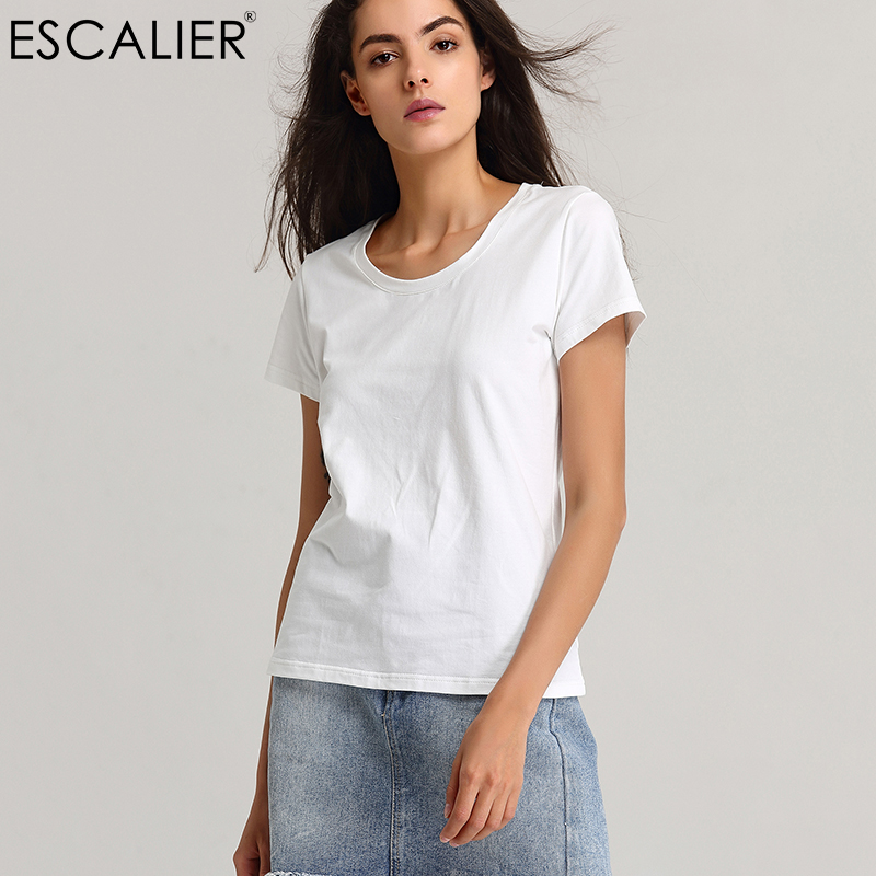 Summer 2017 Women Basic T-Shirts Cotton Women Tops Tees Black/White/Gray/Brown Comfortable Broadcloth Shirts Escalier