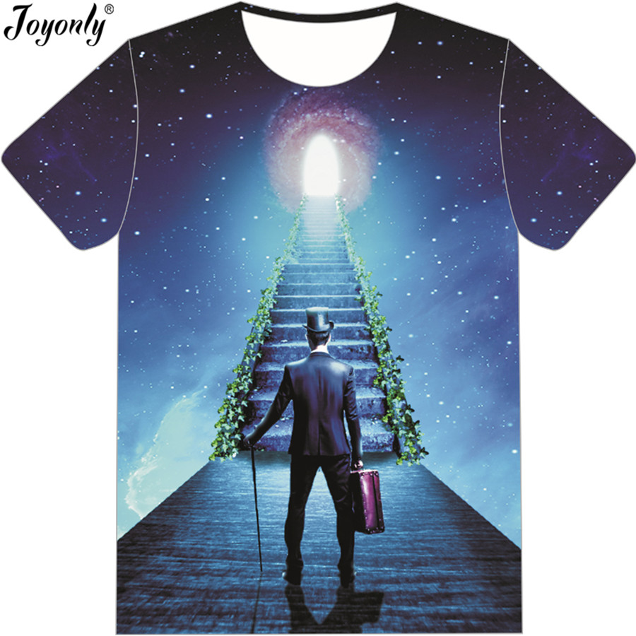 Joyonly 2018 Summer Boys Girls Space Galaxy 3D T-shirt STAIRWAY TO HEAVEN Funny Brand Design T shirt Children tshirts Cool Tops
