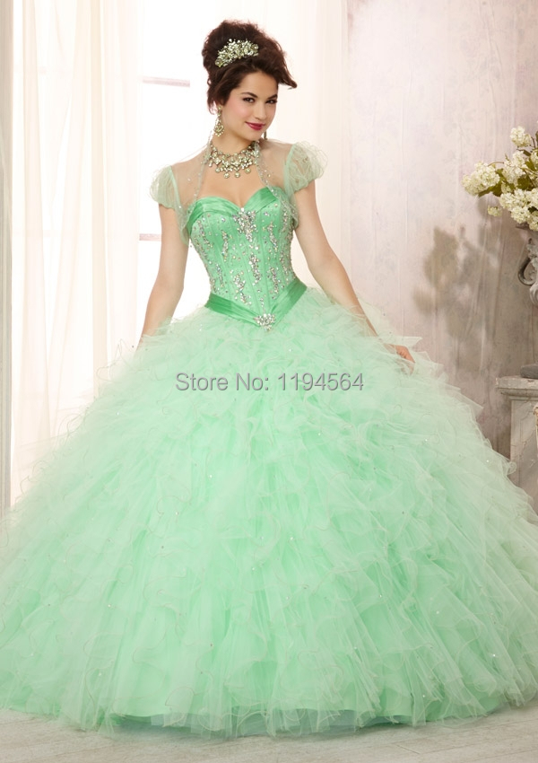Aliexpress.com : Buy Peacock Beading 2014 Mint Green Quinceanera ...