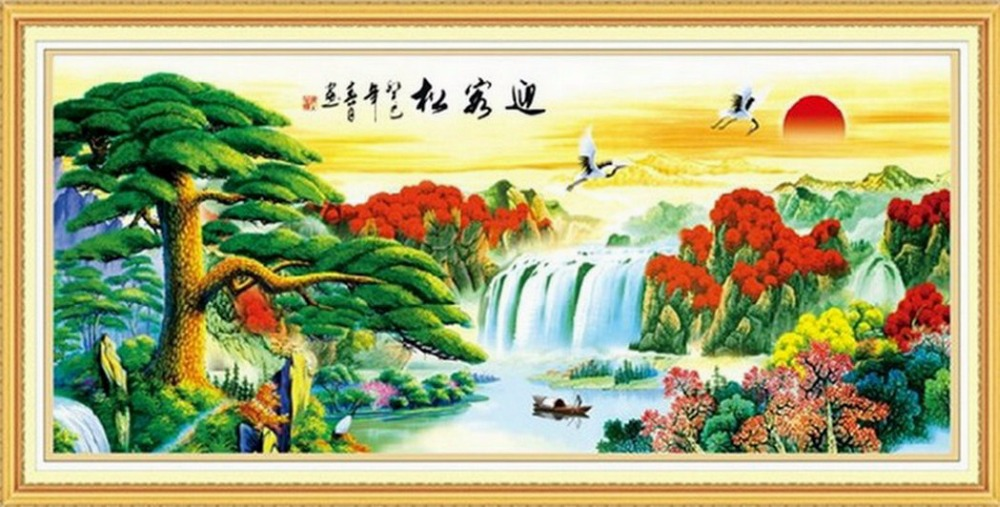 Square Drill China Mountain River Landscape Modern Home Decoration diy Diamond Flower Flower Acupuncture 5D Full Diamond Embroid