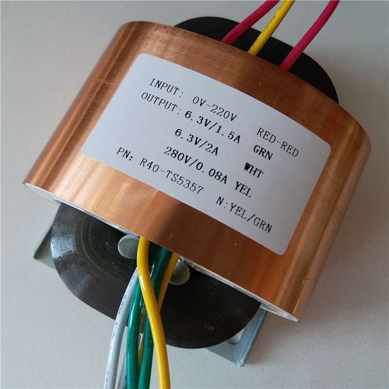 280V 80mA 6 3V 1 5A 6 3V 2A R Core Transformer 45VA R40 custom transformer