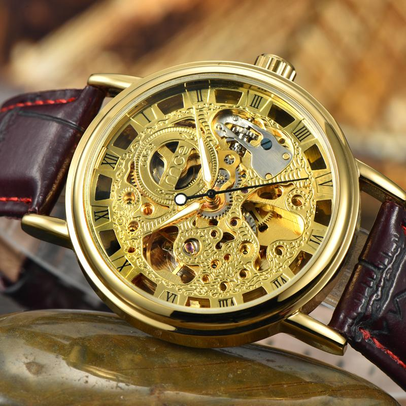 Luxury Men Gold Plated Skeleton Mechanical Watches Self Winding Leather Casual Clock Vintage Roman Number Analog Relojes NW7030 luxury men brand crystals dress watches self winding mechanical 316l band calendar wristwatch saphir relojes analog 3atm nw4239