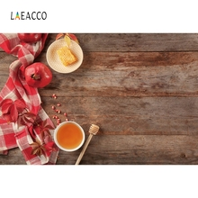 Laeacco Happy Rosh Hashanah Honey Wooden Board Portrait Photography Background Custom Photographic Backdrops for Photo Studio