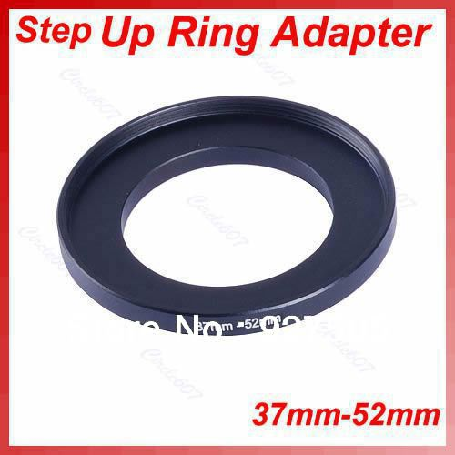 OOTDTY 5pcs/lot 37mm-52mm 37-52 mm 37 to 52 Step Up Lens Filter Metal Ring Adapter Black