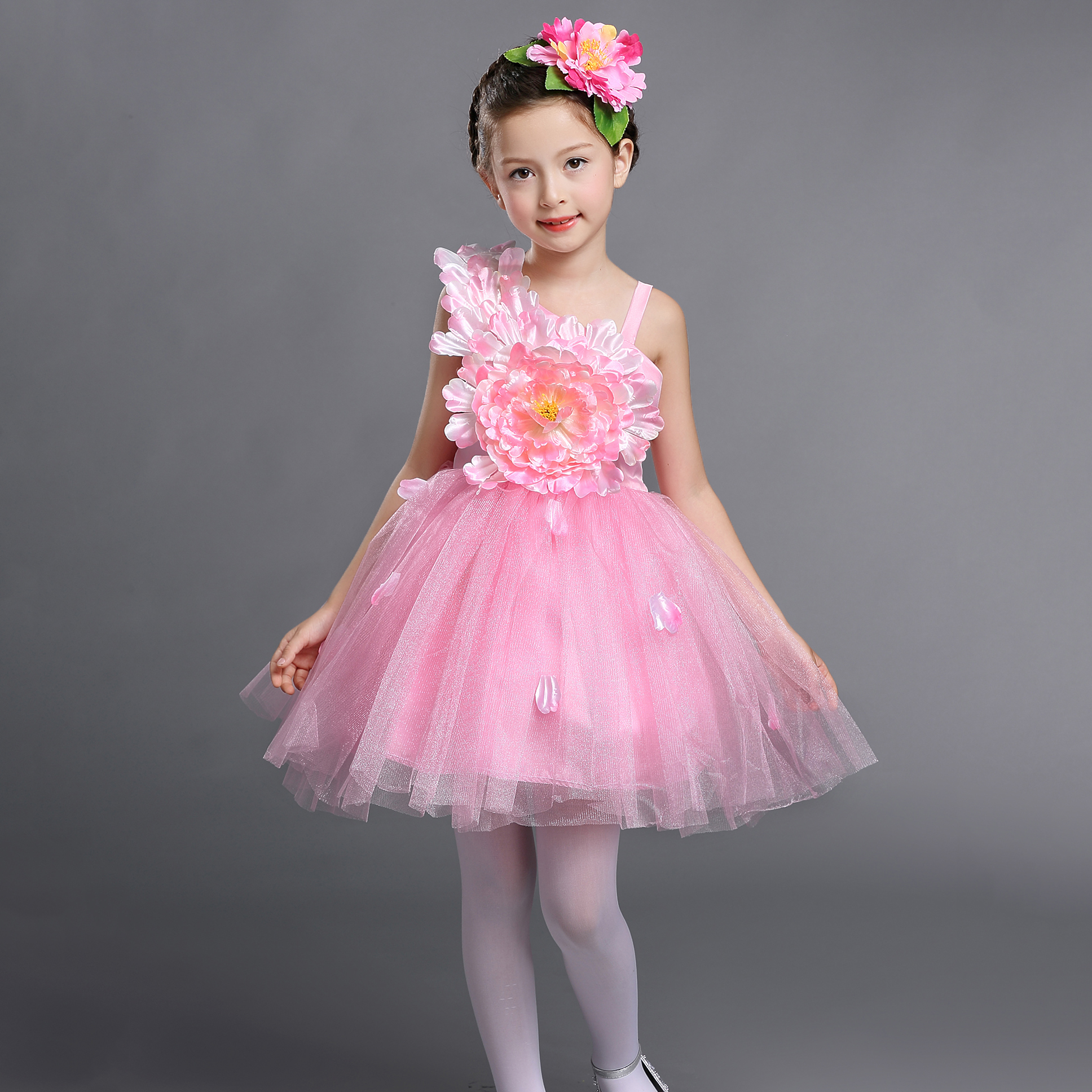 Yellow White Pink Pageant Flower Girls Short Ball Gown Prom Dresses Size 2 To 12 Children