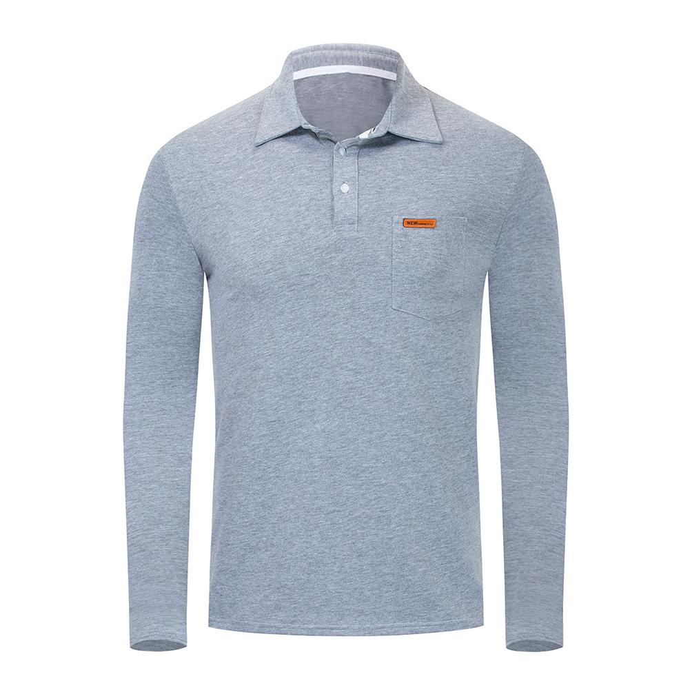 Fashion Solid Color Long Sleeve Turn-Down Collar Men's Sport Casual   polo   shirt Top