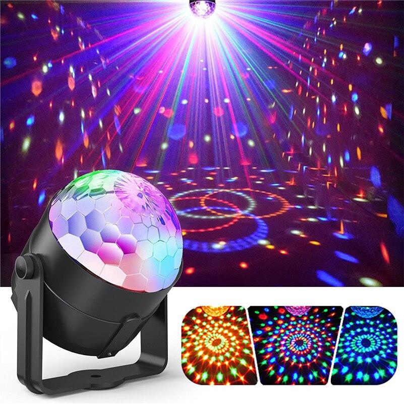 Tanbaby Suono Attivato Luci da Discoteca Palla Rotante Luci 3 W RGB LED Stage Lights Per Natale Casa KTV Xmas Wedding Show Pub
