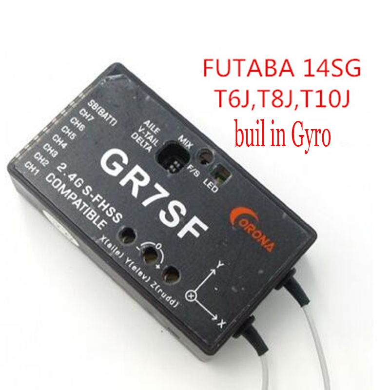 цена на CORONA 2.4 7CH GR7SF S-FHSS receiver buil in Gyro Compatible with FUTABA T6J T8J 10J T14SG