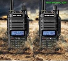 Rádio transmissor portátil 2 peças uv 9r plus, com 10w de potência 4800mah banda dupla cb ham hf walkie talkie, rádio de duas vias de 10km