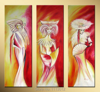 Hand Painted Canvas Oil Painting 3 Panel Set Modern Abstract Japan Dancing Girl Home Decoration Wall Art Picture For Living Room