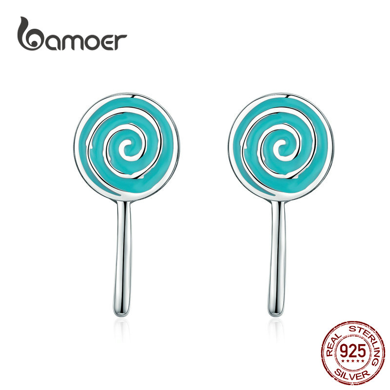 BAMOER Sweet Lollipop Candy Stud Earrings For Girls Sterling Silver 925 Blue Enamel Ear Studs Korean Jewelry Gifts SCE625