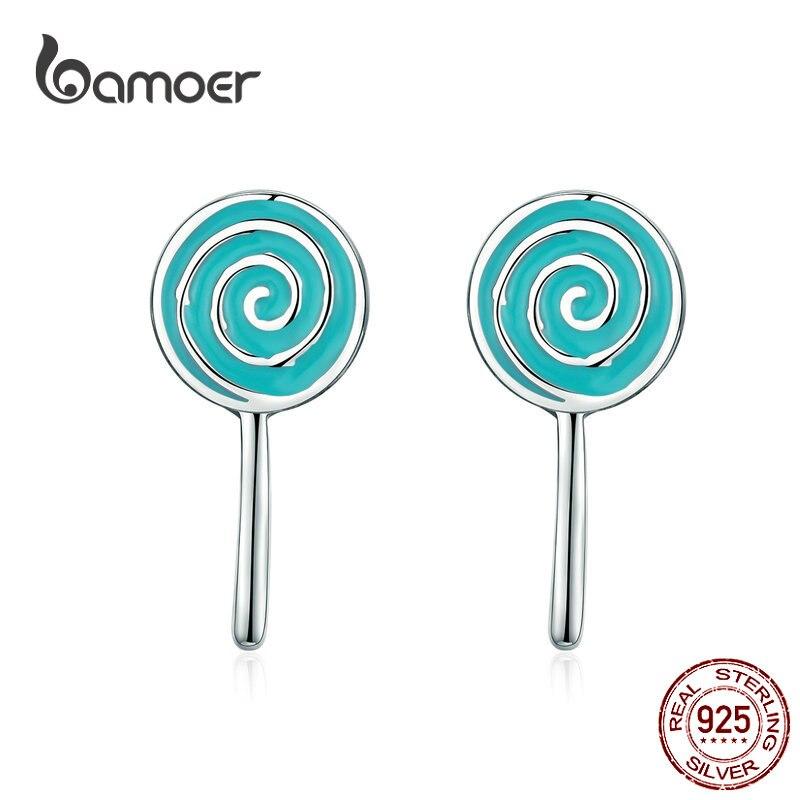 BAMOER Sweet Lollipop Candy Stud Earrings For Girls Sterling Silver 925 Blue Enamel Ear Studs Korean Jewelry Gifts SCE625