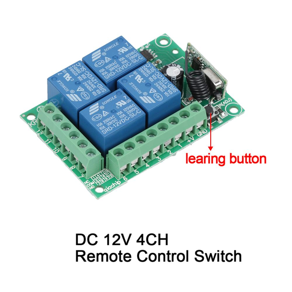 433Mhz Universal Wireless Remote Control light Switch DC 12V 4CH Relay Receiver Module For 1527 Learning Code 433Mhz Transmitter