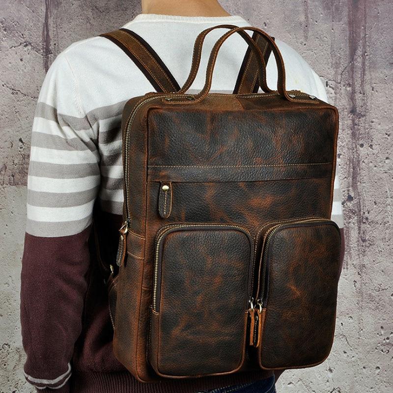 BULL CAPTAIN Men Genuine Leather Backpack Vintage Daypack Multi Pocket Casual Double Rucksack Casual Large Travel Satchel Bags