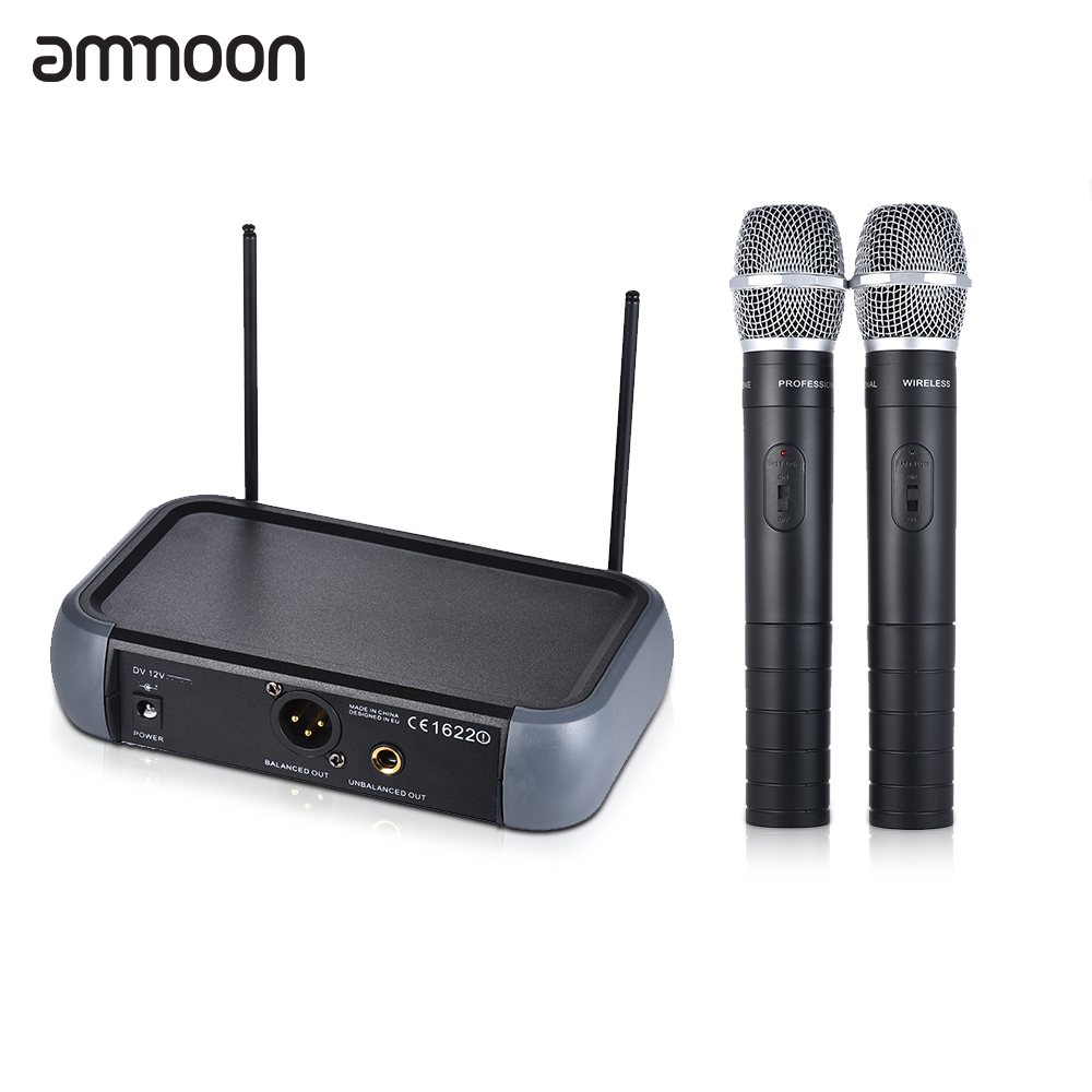 ammoon Dual Channel VHF Wireless Microphone System Echo Function 2 Microphones 1 Receiver 6 35mm Audio