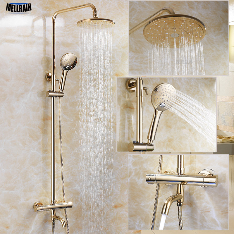 Gold Color Bathroom Thermostatic Control Shower Faucet Set Wall ...