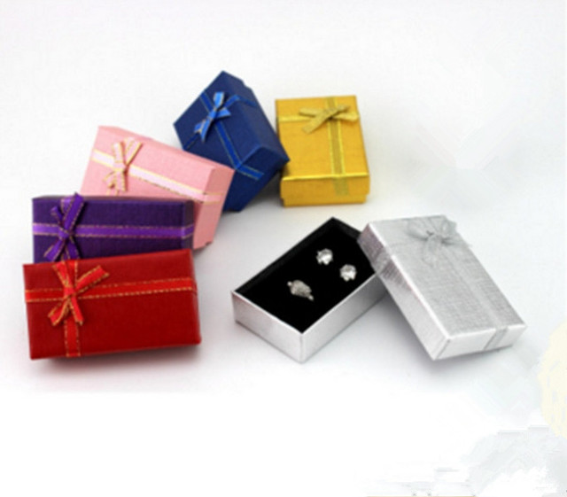 Wholesale Jewelry Box 5*8 cm Multi Colors Bow Cases Display, Necklace/Earring/Ring Sets Boxes Packaging Gift Box 24pcs/lot