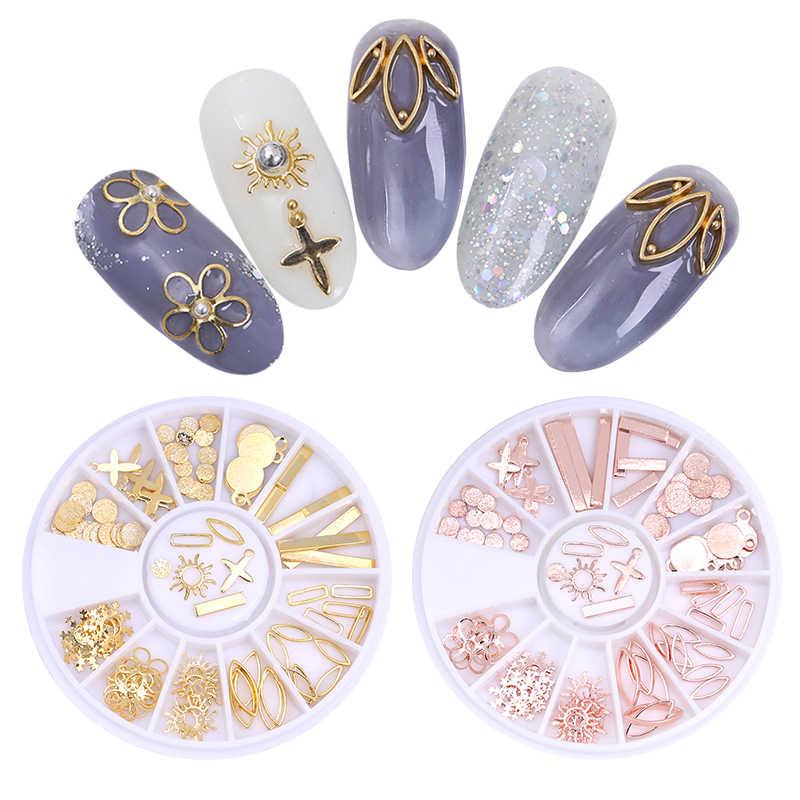 1 Box Opal Nail Rhinestones Flat Bottom Cross Sun Flower Snowflake Leaf Chain Beads DIY Manicure Nail Art Decoration in Wheel