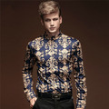New Mens Fashion barroco BAROCCO style Royal Prince Luxury Floral Long Sleeve Shirt Tops Flower Print Cocktail party vintage