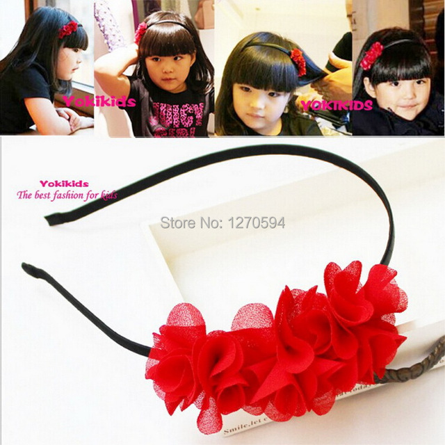 Girls Red Rose Flower Hairband Classic Solid Color Hairband Baby Girl Head  Wear Pretty Selected Style Floral Hair Wear for Baby a32675e25ff