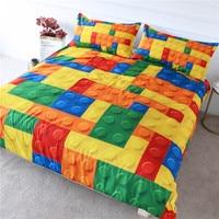 BlessLiving Toy Print Bedding Set Dot Building Blocks Comforter Cover Kids Boy Bed Cover Colorful Bricks Game Bedlinen Drop Ship