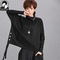 Fashion Design Black Turtleneck Pullovers Bat Sleeve Long Sleeve Casual Fall 2018 Harajuku Hoodies Sweatshirt Tops Sweatshirts