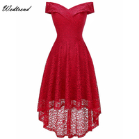 Wedtrend Red Graduation Dress Short 2019 Sexy Off the Shoulder High Low Lace Homecoming Dresses Formal Gowns