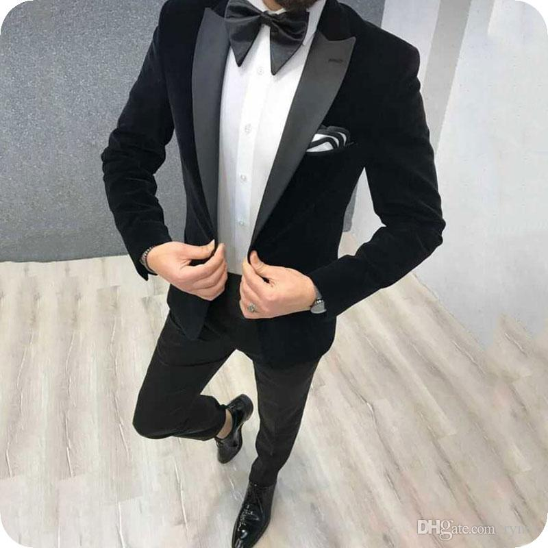 Mens Floral Designs 2 Piece Suit Groom Tuxedos Slim Fit One Button Wedding Men Suit Single