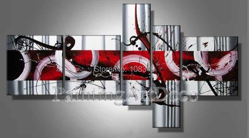 hand-painted The Warm red passion High Q. Home Decoration Modern Abstract Oil Painting on canvas 5pcs/set Framed