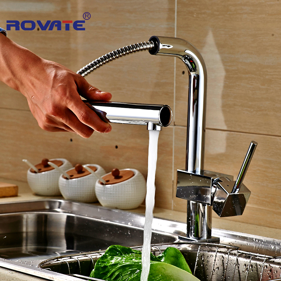90 Rotating Tap Faucet Brass Chrome Polish Single Handle Pull Out Sprayer Swivel Head Kitchen Accessories Mixer Tap new pull out sprayer kitchen faucet swivel spout vessel sink mixer tap single handle hole hot and cold