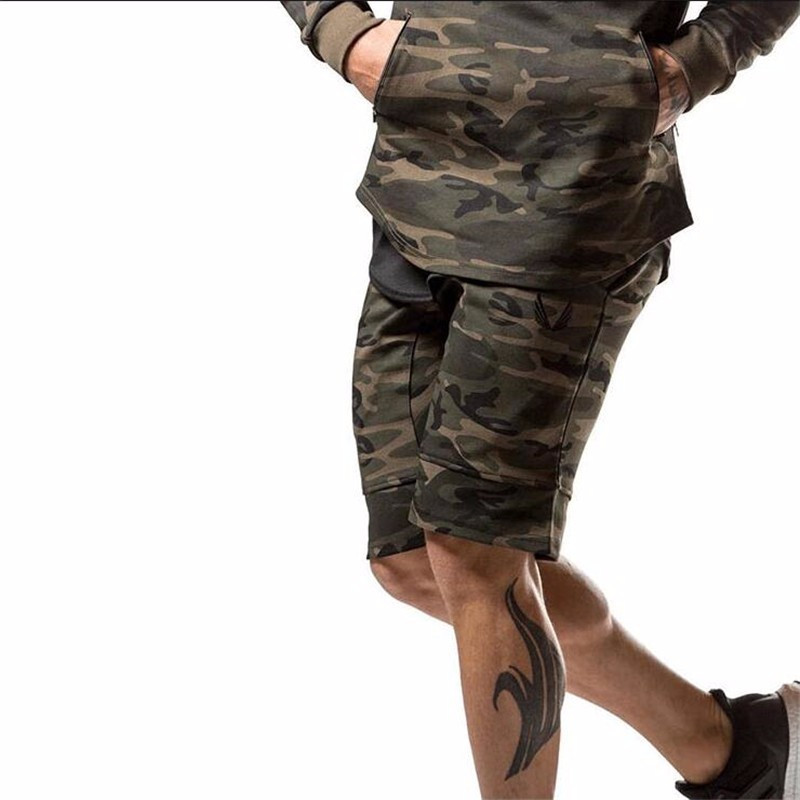 2017 New Fashion Camouflage Mens Shorts Casual Summer Shorts Bodybuilding Short Pants Gasp