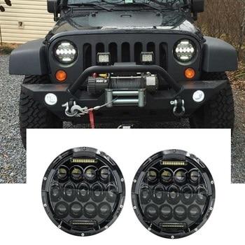 "1Pair 7"" inch 75W Black/Chrome LED Headlamp for Jeep JK Projector LED Headlight with DRL for Jeep Wrangler TJ LJ CJ JK"