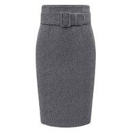 Autumn Winter Women Plus Size Thick Woolen Skirts Slim Belt Office Long Midi Skirt Step Pencil