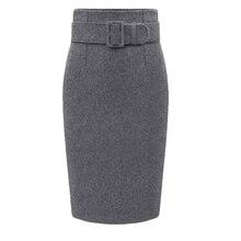 Autumn Winter Women Plus Size Thick Woolen Skirts Slim Belt Office Long Midi Skirt Step A