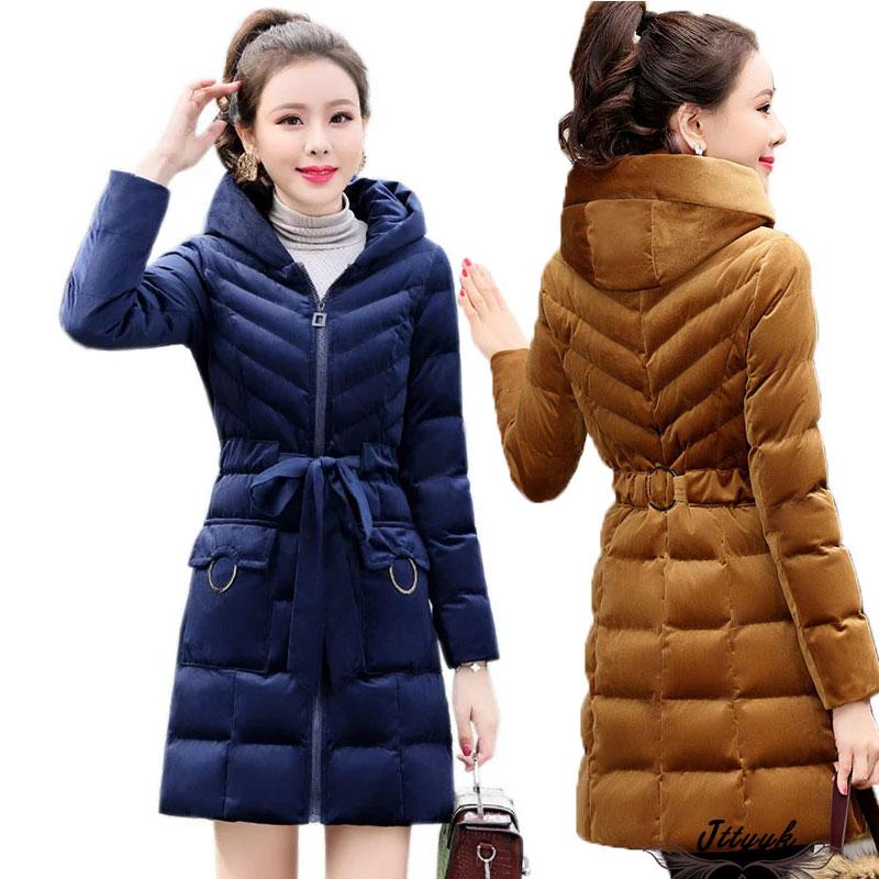 Winter Women Parkas Gold Velvet Cotton Padded Jacket 2019 Hooded Warm Cotton Coat Women Slim Thick