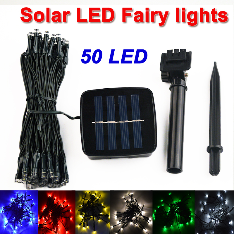 cheap 6.9M 50 LED Solar Lamps LED String Fairy Lights Garland Christmas Solar Lights for wedding garden party Decoration Outdoor pic,image LED lamps deals