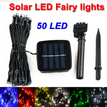 buy 6.9M 50 LED Solar Lamps LED String Fairy Lights Garland Christmas Solar Lights for wedding garden party Decoration Outdoor,image LED lamps deals
