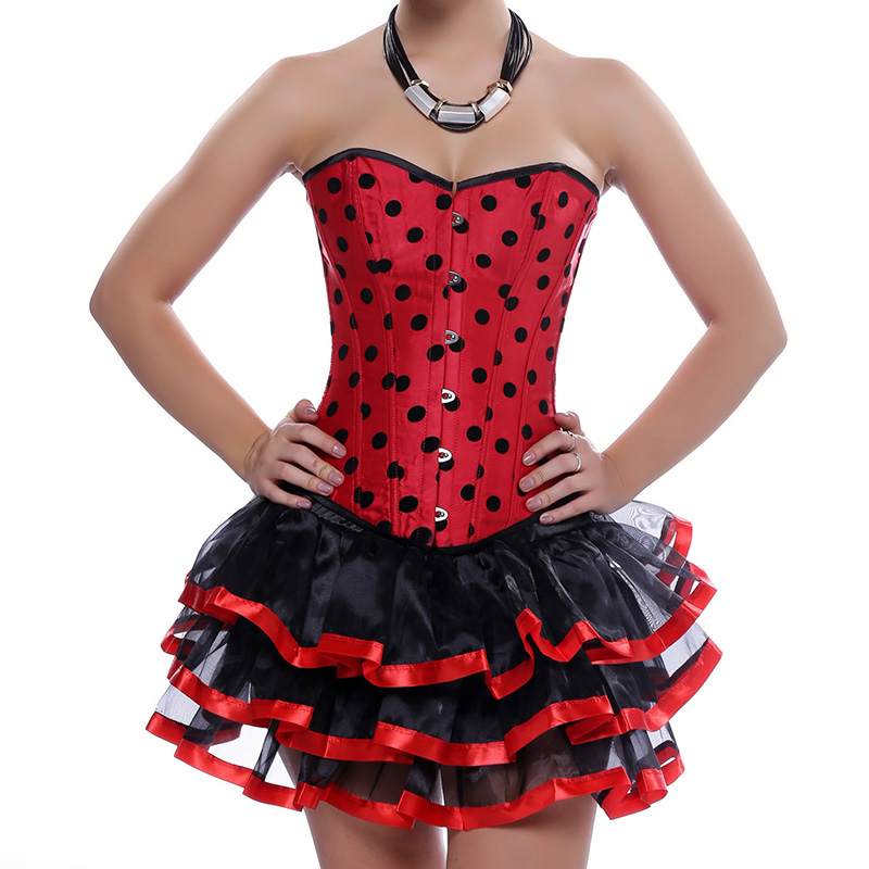 Red / Black Polka Dot Gothic Dress Sexy Corset Tutu Skirt Burlesque Costumes Corselete Feminino Espartilhos Corsets And Bustiers