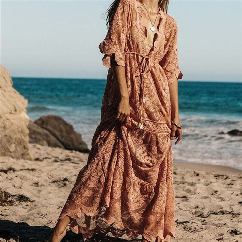 Luxury Long Sea Beach Wrap Dress Elegant Bathing Suit Cover Up Pink Lace Tunic Beach Sarong Plage Robe Kaftan Women Tunika A67